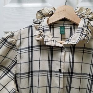 Lauren RL Victorian Ruffled Collar Fitted Flannel